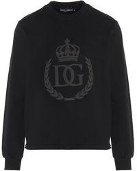 Dolce & Gabbana - Felpa Logo Dg Gommato Nera - Lyst