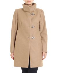 Fay Camel Colored Wool Coat With High Collar - Natural