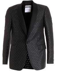 Moschino Jacquard Fabric Black Jacket Featuring Silver Details