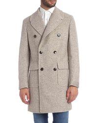 L.B.M. 1911 Beige Coat With Herringbone Pattern - Natural