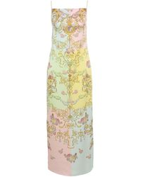Versace Jeans Couture Cameo Print Multicolour Sleeveless Dress - Yellow