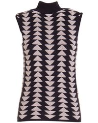 Emporio Armani Triangles Pattern Sleeveless Jumper - Black