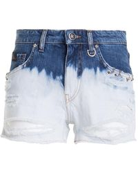 John Richmond Two-tone Denim Shorts - Blue