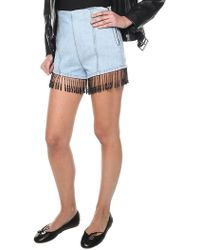 MSGM - Denim Shorts With Beaded Fringes - Lyst