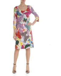 Ultrachic - White Dress With Multicolor Butterflies Print - Lyst