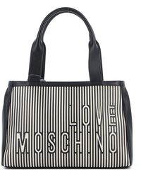 Love Moschino - Striped Faux Leather And Canvas Bag - Lyst