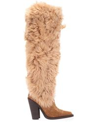 DSquared² Western Shearling Boots - Natural