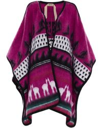 N°21 Jacquard Decoration Cape - Pink