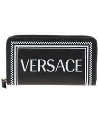 Versace Leather Wallet In Black With Logo Print