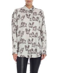 MSGM White Shirt With Cats Print