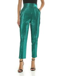 Elisabetta Franchi Pantaloni verdi in lamé - Verde