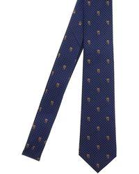 Alexander McQueen Silk Skull Tie - Blue