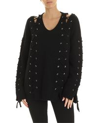 McQ Black Pullover With Corset Details