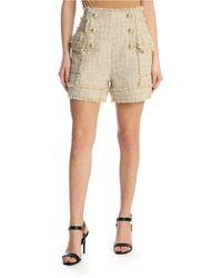 Balmain Bouclé Shorts With Embossed Buttons - Natural