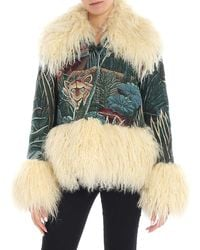 KENZO Trim-detail Embroidered Jacket - Green