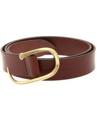 Orciani Golden Buckle Belt - Brown