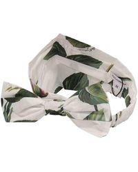 Dolce & Gabbana Tropical Rose Print Poplin Bandana - White