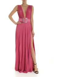 Elisabetta Franchi Pleated Lamé Pink Dress With Belt