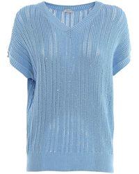 Peserico V-neck Sweater - Blue