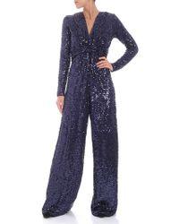 P.A.R.O.S.H. - Blue Sequins Jumpsuit - Lyst