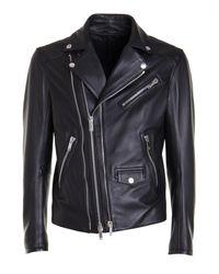 Les Hommes Black Leather Biker Jacket