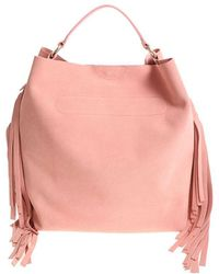 Twin Set - Pink Hobo Bag With Fringed Inserts - Lyst