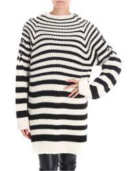 Alberta Ferretti - Maxi Pullover With Striped Tricot Effect - Lyst