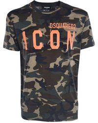 DSquared² T-Shirt Icon Verde Camouflage