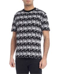 McQ T-Shirt Nera Stampa Elvis Presley All Over - Nero
