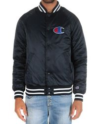 Champion - Blue Jacket With Striped Edges And Logo - Lyst