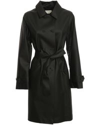 Add Faux Leather Trench Coat - Black