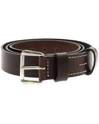 Aspesi Brown Leather Belt With Buckle