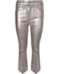 Mother The Hustler Ankle Fray Golden Coated Jeans - Metallic
