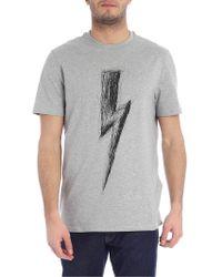 Neil Barrett Lightning Bolt Gray T-shirt
