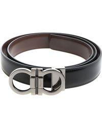 Ferragamo - Black Leather Belt With Buckle Closure - Lyst