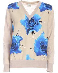 Paul Smith Rose Print Sweater - Natural