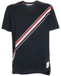 Thom Browne Rwb Diagonal T-shirt - Blue