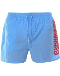 DSquared² Boxer Da Mare Con Logo Azzurri - Blu