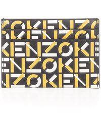 KENZO Monogram Leather Card Holder - Yellow