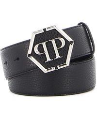 Philipp Plein Hammered Leather Belt - Black