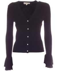 Michael Kors Ruffles On The Cuff Cardigan - Black