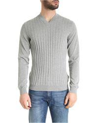 Zanone Double V-neck Pullover - Grey