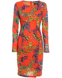 Versace Jeans Couture Baroque Printed Dress - Red