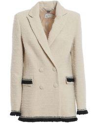 be Blumarine Bouclé Wool Blend Blazer - Natural