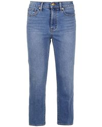 Tory Burch Japanese Denim Cropped Bootcut Jeans - Blue