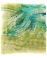 Avant Toi Peony Pattern Cashmere Stole - Green
