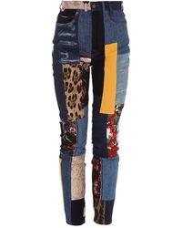 Dolce & Gabbana Skinny Multicolour Patchwork Jeans - Blue