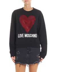 Love Moschino - Black Rhinestone Heart Sweatshirt - Lyst