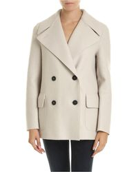 Harris Wharf London Double-breasted Coat In Virgin Wool Cloth - Natural