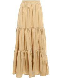 Twin Set Flounced Poplin Skirt - Natural